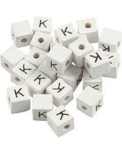 Perlina lettera, K, misura 8x8 mm, misura buco 3 mm, bianco, 25 pz/ 1 conf.