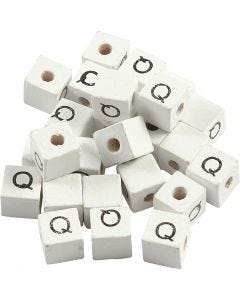 Perlina lettera, Q, misura 8x8 mm, misura buco 3 mm, bianco, 25 pz/ 1 conf.