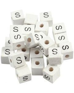 Perlina lettera, S, misura 8x8 mm, misura buco 3 mm, bianco, 25 pz/ 1 conf.