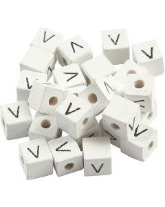 Perlina lettera, V, misura 8x8 mm, misura buco 3 mm, bianco, 25 pz/ 1 conf.