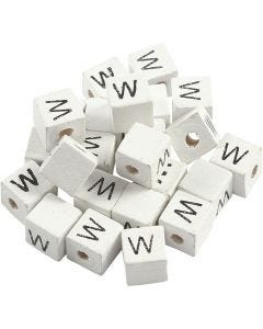 Perlina lettera, W, misura 8x8 mm, misura buco 3 mm, bianco, 25 pz/ 1 conf.