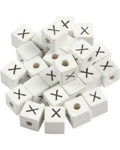 Perlina lettera, X, misura 8x8 mm, misura buco 3 mm, bianco, 25 pz/ 1 conf.