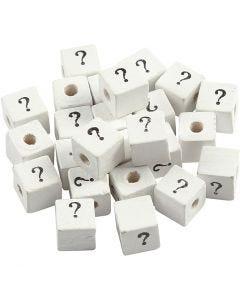 Perlina simbolo, ?, misura 8x8 mm, misura buco 3 mm, bianco, 25 pz/ 1 conf.