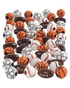 Perle sport, misura 11-15 mm, misura buco 3-4 mm, colori asst., 270 g/ 1 conf.
