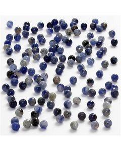 Pietre pure, diam: 3 mm, misura buco 0,5-0,7 mm, blu, 120 pz/ 1 conf.