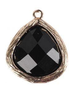 Gioiello pendente, misura 15x18 mm, misura buco 1 mm, nero, 1 pz