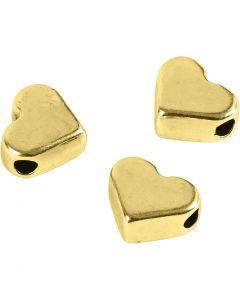 Perla spaziatrice, misura 5,5x7 mm, misura buco 1 mm, placcato oro, 3 pz/ 1 conf.