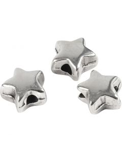 Perla spaziatrice, misura 5,5x5,5 mm, misura buco 1 mm, placcato argento, 3 pz/ 1 conf.