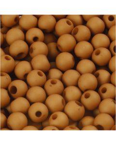 Perle in plastica, diam: 6 mm, misura buco 2 mm, marrone, 40 g/ 1 conf.