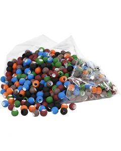 Perline , misura 8x10 mm, misura buco 5 mm, colori asst., 300 g/ 1 conf.