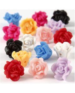 Rose di argilla, diam: 16x10 mm, misura buco 0,5 mm, colori asst., 16 asst./ 1 filo