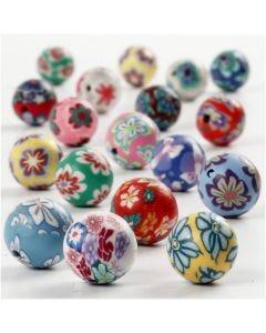 Perline di argilla, diam: 10 mm, misura buco 1 mm, colori asst., 40 asst./ 1 filo