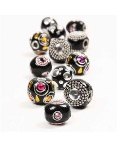 Perline kashmiri, diam: 20-17 mm, misura buco 4,5 mm, nero, 12 asst./ 1 conf.