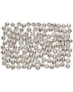 Perline di cera, diam: 3 mm, misura buco 0,7 mm, argento, 150 pz/ 1 conf.