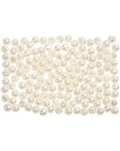 Perline di cera, diam: 3 mm, misura buco 0,7 mm, madreperla, 150 pz/ 1 conf.