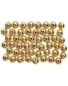 Perline di cera, diam: 5 mm, misura buco 0,7 mm, oro, 100 pz/ 1 conf.