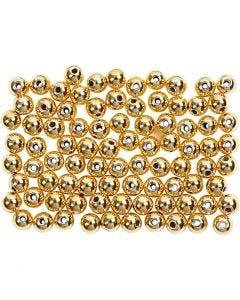 Perline di cera, diam: 4 mm, misura buco 0,7 mm, oro, 150 pz/ 1 conf.
