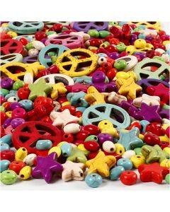 Perle in Howlite, misura 4-25 mm, misura buco 1,5 mm, il contenuto può variare , colori forti, 840 pz/ 1 conf.