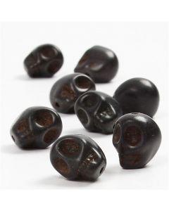 Perline howlite, diam: 12 mm, misura buco 1,5 mm, nero, 32 pz/ 1 conf.