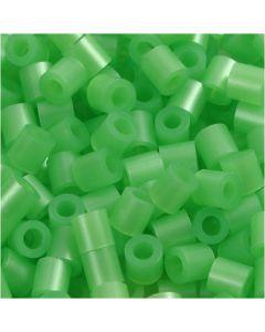 Perline a tubetto, misura 5x5 mm, misura buco 2,5 mm, medium, verde madreperlato (32240), 6000 pz/ 1 conf.