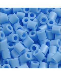 Perline a tubetto, misura 5x5 mm, misura buco 2,5 mm, medium, blu pastello (32224), 6000 pz/ 1 conf.