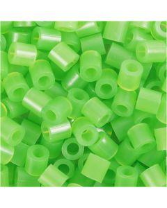 Perline a tubetto, misura 5x5 mm, misura buco 2,5 mm, medium, verde neon (32237), 1100 pz/ 1 conf.
