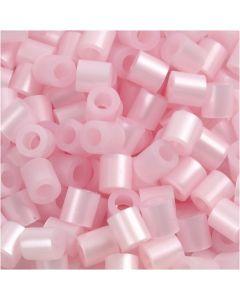 Perline a tubetto, misura 5x5 mm, misura buco 2,5 mm, medium, rosato madreperlato (32259), 6000 pz/ 1 conf.