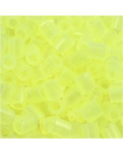 Perline a tubetto, misura 5x5 mm, misura buco 2,5 mm, medium, giallo neon (32223), 1100 pz/ 1 conf.