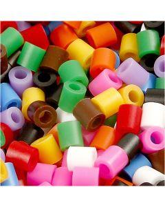 Perline a tubetto, misura 5x5 mm, misura buco 2,5 mm, medium, colori standard, 5000 asst./ 1 conf.