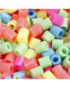 Perline a tubetto, misura 5x5 mm, misura buco 2,5 mm, medium, colori pastello, 6000 asst./ 1 conf.