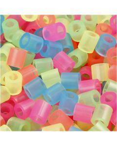 Perline a tubetto, misura 5x5 mm, misura buco 2,5 mm, medium, colori neon, 5000 asst./ 1 conf.