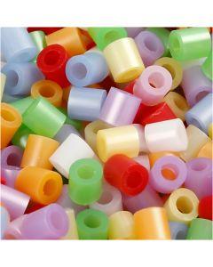 Perline a tubetto, misura 5x5 mm, misura buco 2,5 mm, medium, colori perlati, 5000 asst./ 1 conf.