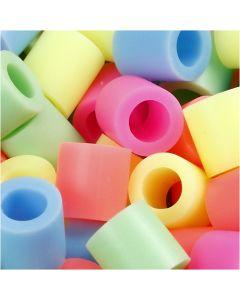 Perline a tubetto, misura 10x10 mm, misura buco 5,5 mm, JUMBO, colori pastello, 2450 asst./ 1 secch.