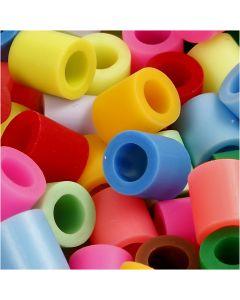 Perline a tubetto, misura 10x10 mm, misura buco 5,5 mm, JUMBO, colore aggiuntivo, 1000 asst./ 1 conf.