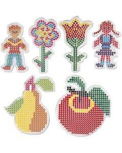 Pannello forato, 2 fiori, bambina, bambino, mela e pera, misura 8,5x14-14x16 cm, 6 pz/ 1 conf.