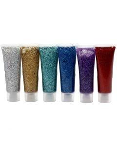 Glitter gel, colori asst., 6x18 ml/ 1 conf.
