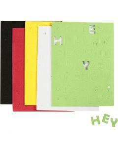 Lettere e numeri in gomma EVA, misura 2-2,3 cm, colori asst., 5 fgl./ 1 conf.