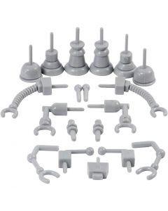 Pezzi di robot, misura 0,5-6 cm, grigio, 19 pz/ 1 conf.