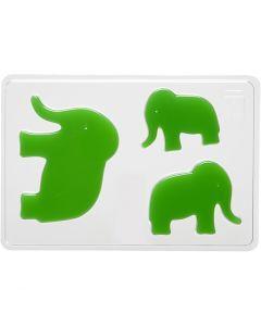 Stampo decorativo, elefante, H: 6+8+10 cm, misura 14,9x22 cm, 1 pz