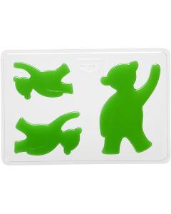 Stampo decorativo, orso, H: 6+8+10 cm, misura 14,9x22 cm, 1 pz