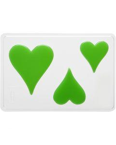 Stampo decorativo, cuore, H: 6+8+10 cm, misura 14,9x22 cm, 1 pz