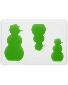Stampo decorativo, pupazzo di neve, H: 6+8+10 cm, misura 14,9x22 cm, 1 pz