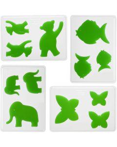 Stampi decorativi, animali, H: 6+8+10 cm, misura 14,9x22 cm, 4 pz/ 1 conf.