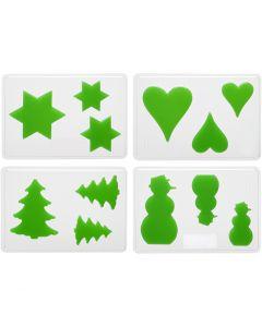 Stampi decorativi, Natale, H: 6+8+10 cm, misura 14,9x22 cm, 4 pz/ 1 conf.