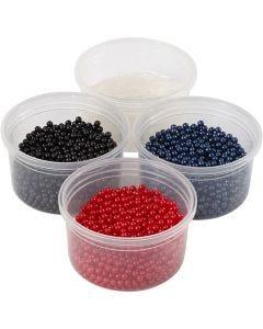Pearl Clay® , nero, blu, rosso, 1 set