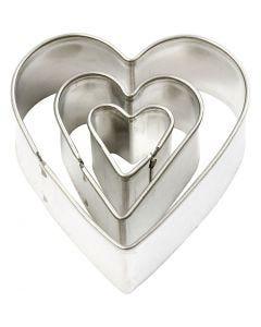 Formine in metallo, cuore, misura 40x40 mm, 3 pz/ 1 conf.