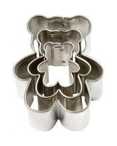 Formine in metallo, orso, misura 35x40 mm, 3 pz/ 1 conf.