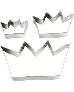 Formine in metallo, corona, misura 13,3x7,5 cm, 3 pz/ 1 conf.