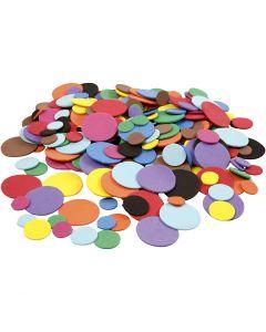 Cerchi di EVA foam, diam: 12+20+32 mm, colori asst., 300 asst./ 1 conf.