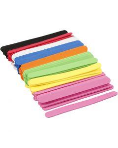 Bastoncini per ghiacciolo in schiuma EVA, L: 11,5 cm, L: 1 cm, spess. 2 mm, colori asst., 120 pz/ 1 conf.